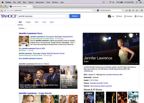 How the new Yahoo search will look in the Firefox browser.