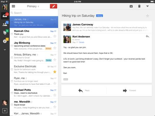 Gmail iOS app gets better navigation, message handling on iPads