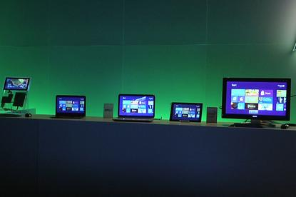 Windows 8 prototype tablets on show in Taipei at a news conference on June 2, 2011