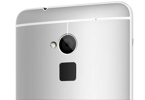 The HTC One Max has a fingerprint scanner on the back, just below the camera lens.