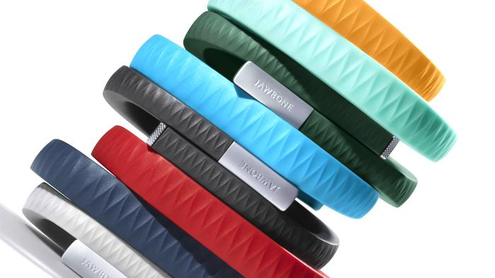 The available colours of the Jawbone Up wristband.