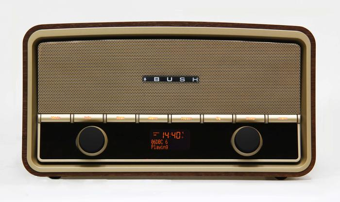 The Bush Heritage DAB+ digital radio, in real woodgrain.