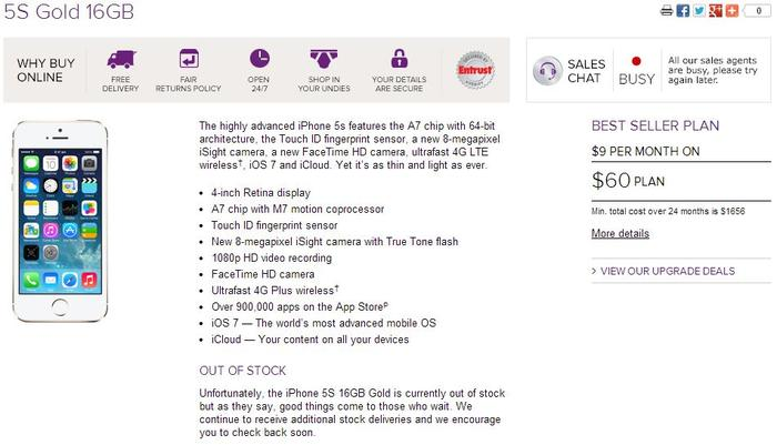 The iPhone 5s, as it currently appears on Virgin Mobile's Web site.