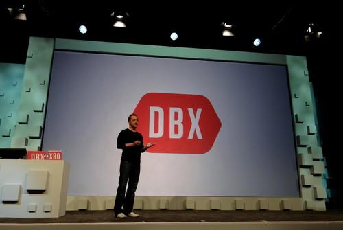 Dropbox CEO Drew Houston takes the stage at the company's first developers conference in San Francisco.