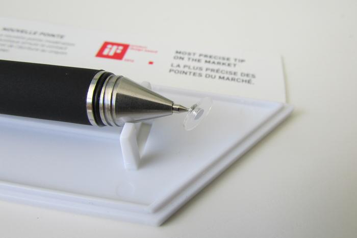 The Jot Pro's unique nib design has a ball-joint connection to a 7mm-diameter clear plastic disc.