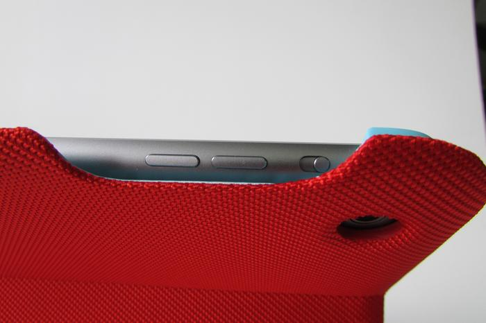 Cutaways expose the iPad Air's buttons and camera.