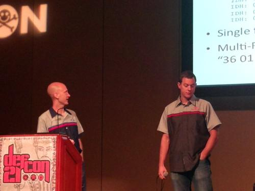 Security researchers Charlie Miller (left) and Chris Valasek (right) explaining how they hacked into car computers
