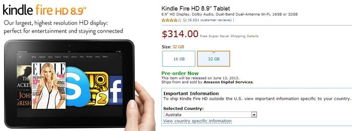 The Kindle Fire HD 8.9 product page, as it appears on Amazon's website.