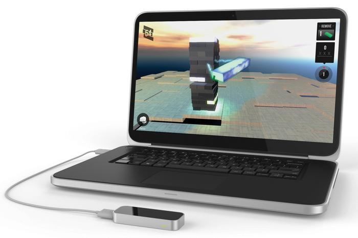 The Leap Motion sensor, plugged into a Windows-based notebook.