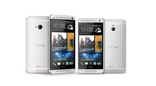 HTC One pictured on the right. HTC One Mini on the left.