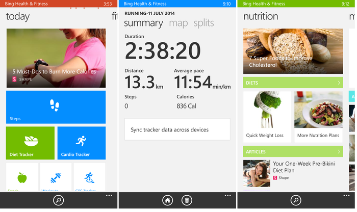 The Nokia has a Bing focus on fitness tracking