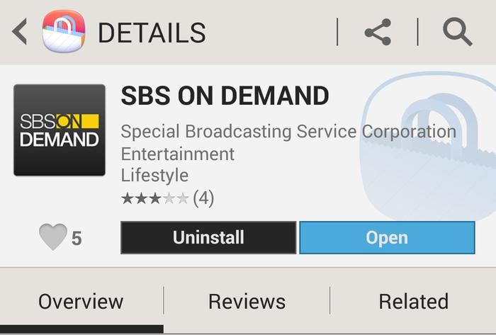 The SBS On Demand app is now available in the Samsung Apps Store.