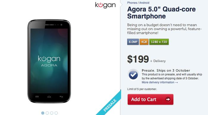 The Agora 5.0 quad-core, as it appears on Kogan's Web site.