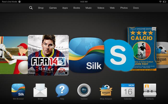 The Fire OS home screen carousel.
