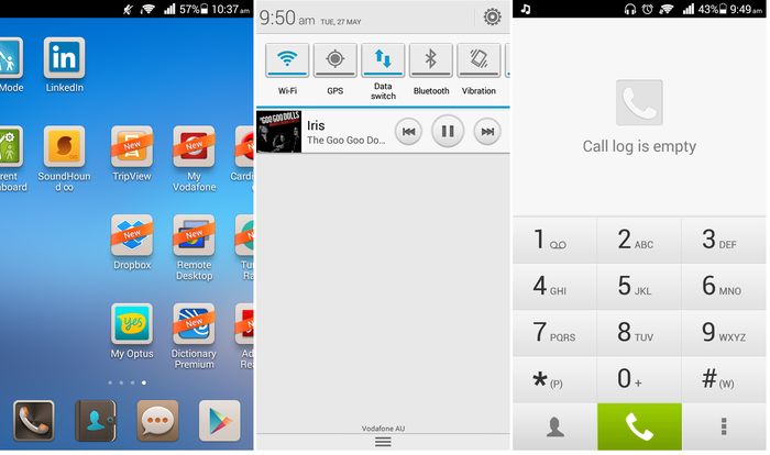 Left: The homescreen doubles as a disorganised app draw.