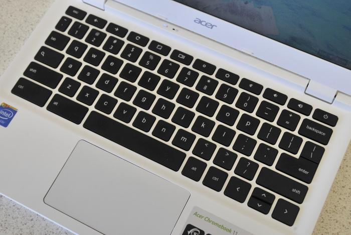 They keyboard also has specific Chrome OS keys for navigating Web pages, and controlling brightness and volume.