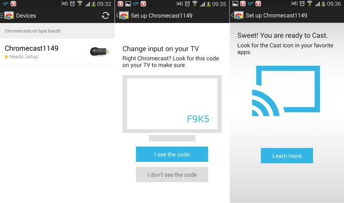 Setting up the Chromecast is a matter of connecting to it and giving it your Wi-Fi network's details.