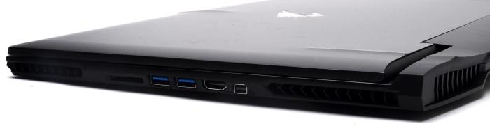 The right has two more USB 3.0 ports, HDMI, and mini DisplayPort.