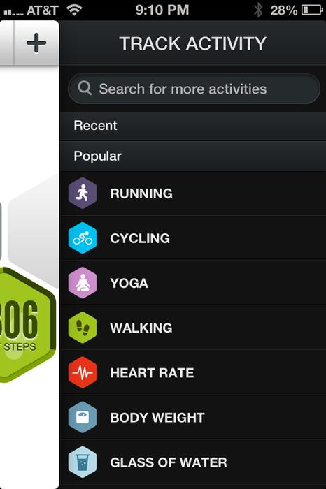 The Track Activity Menu offers various options.