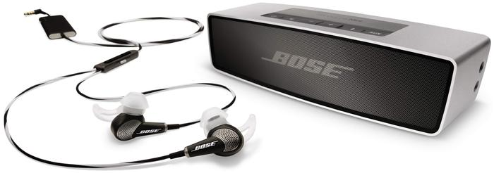 The Bose QuietComfort 20 headphones and the SoundLink Mini Bluetooth speaker.