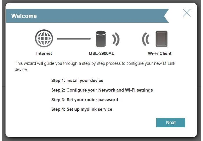 A Wizard allows you to set up the router very quickly.