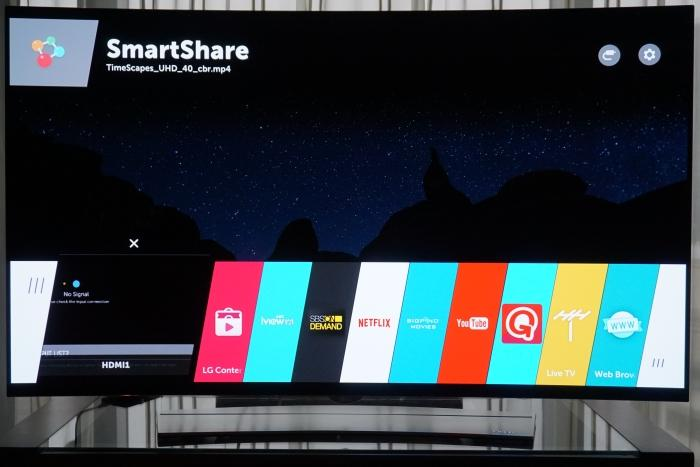 The webOS ribbon interface.