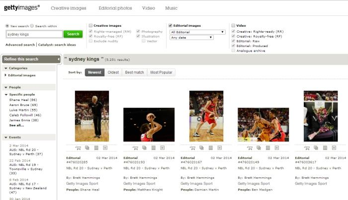 Searching Getty for the right Sydney Kings image, which we can then use for free on a non-commercial site.