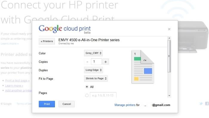 Setting up Google Cloud Print is a matter of putting in the Envy 4500's ePrint service email address.