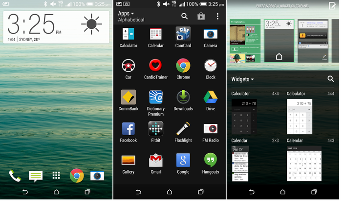 Screenshots of the HTC One (M8) Sense 6 interface.