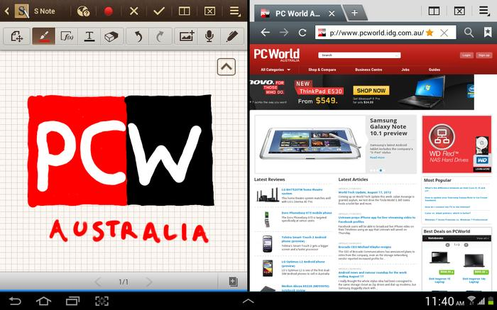 The multiscreen function allows you to open two apps side-by-side, simultaneously.