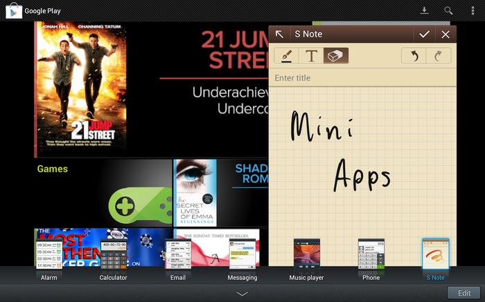 "Samsung includes a number of ""mini apps"" that can be opened as an overlay on top of the screen."