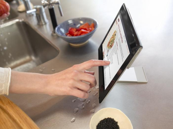 The Sony Xperia Tablet S has a splash-proof finish, so it's water-resistant.