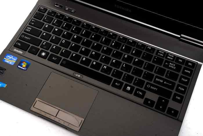The Satellite Z930's keyboard and touchpad: the keyboard takes some getting used to, and we ended up liking it after a while.