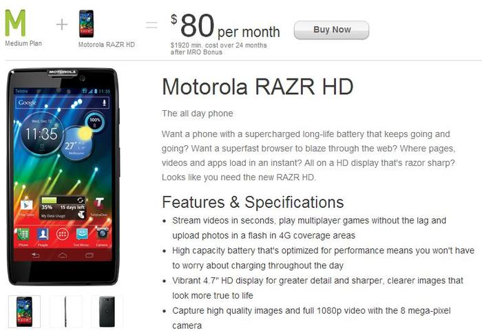 The Motorola RAZR HD shown on Telstra's Web site.