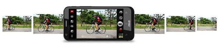 The backside-illuminated 13-megapixel camera can capture 100 consecutive photos at 6fps.