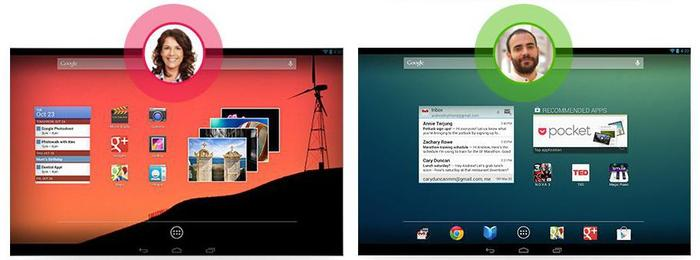 The most notable new feature of Android 4.2 is the ability to create specific user accounts with personalised home screens.
