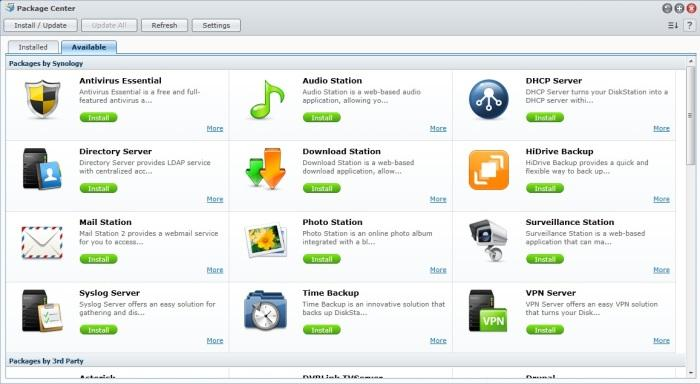 The Package Center provides various apps that you can elect to install.