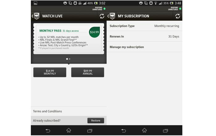 The live video service has a weekly subscription, monthly or yearly subscription, but the weekly option isn't available on Android.