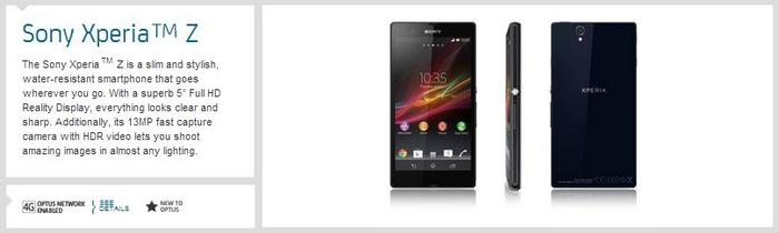 The Xperia Z, as it appears on the Optus website.