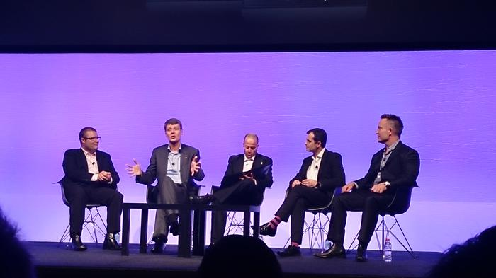 BlackBerry president and CEO Thorsten Heins speaking at the BlackBerry Experience forum in Sydney, yesterday.