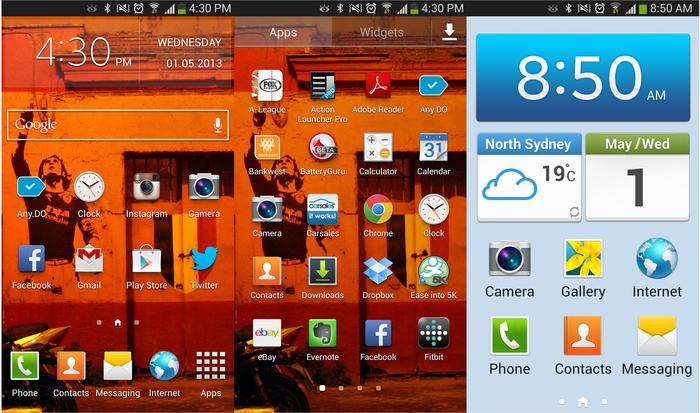 Samsung's TouchWIZ user interface on the Galaxy S4.