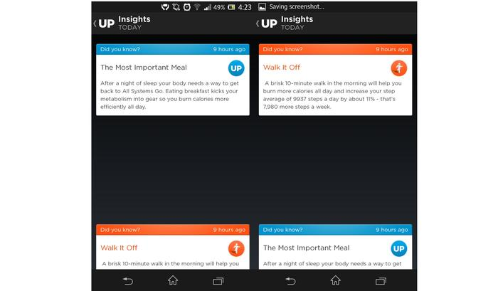 "The ""insights"" feature on the Jawbone Up app"