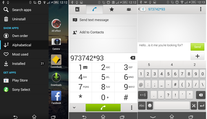 Settings from the application dock, the dialer and messaging app