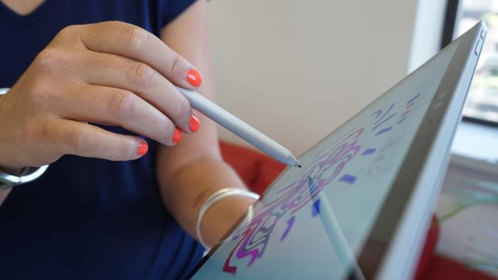 The battery-powered stylus holds charge for a year. Picking it up switches it on and docking it powers it down. A strong magnet is used to dock the stylus effectively enough for Microsoft to create a 'clipboard' mode.