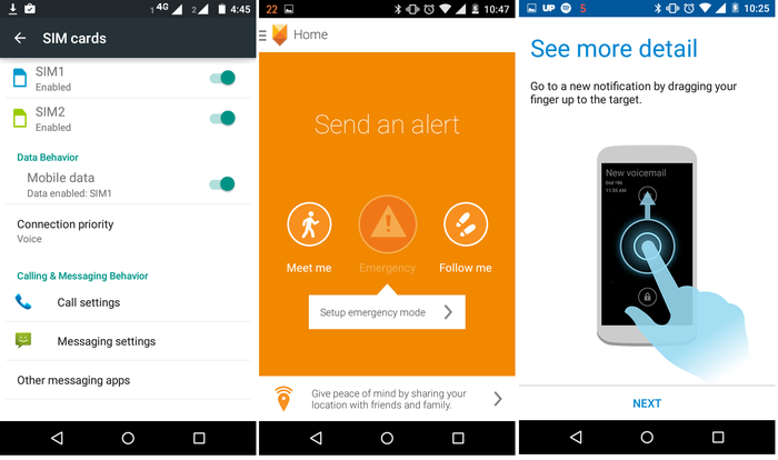 1. Android has a built-in menu to manage dual-SIM functionality; 2. Motorola Alert can ping a child's whereabouts to parents or notify them in the event of an emergency; 3. The Moto E inherits Motorola's notification screen