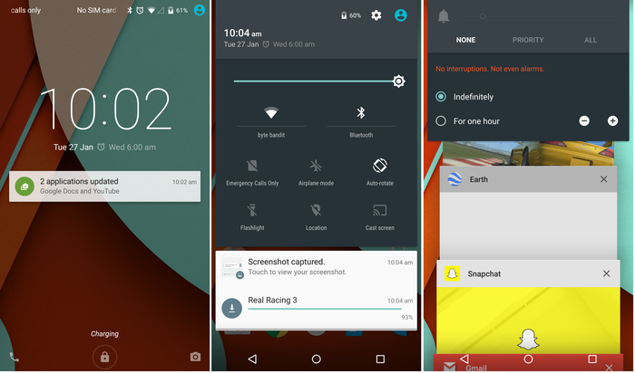 1. Notifications on the home screen 2. The notification blind 3. Profiles and the application manager