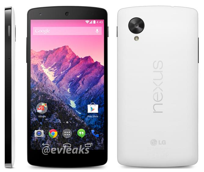 A leaked image of Google's upcoming Nexus 5 smartphone, in white. (Image credit: @evleaks)