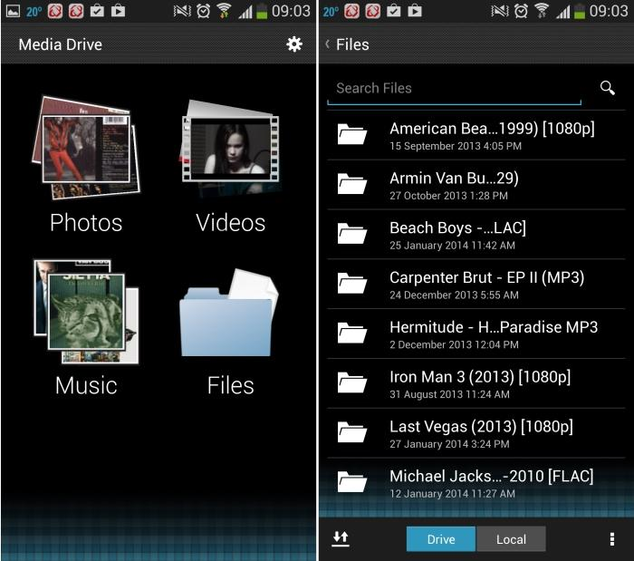The SanDisk app can sort media automatically (left), or you can browse for it manually by going through your folders (right).