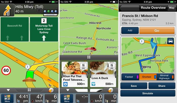 The Navman SmartGPS app for iPhones