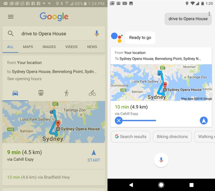 OK Google (left) would show you the best fit when asking a question. Google Assistant (right) shows it to you before quickly executing the command.